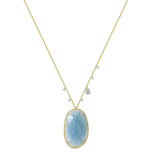 Yellow Gold Milky Aqua Diamond Necklace