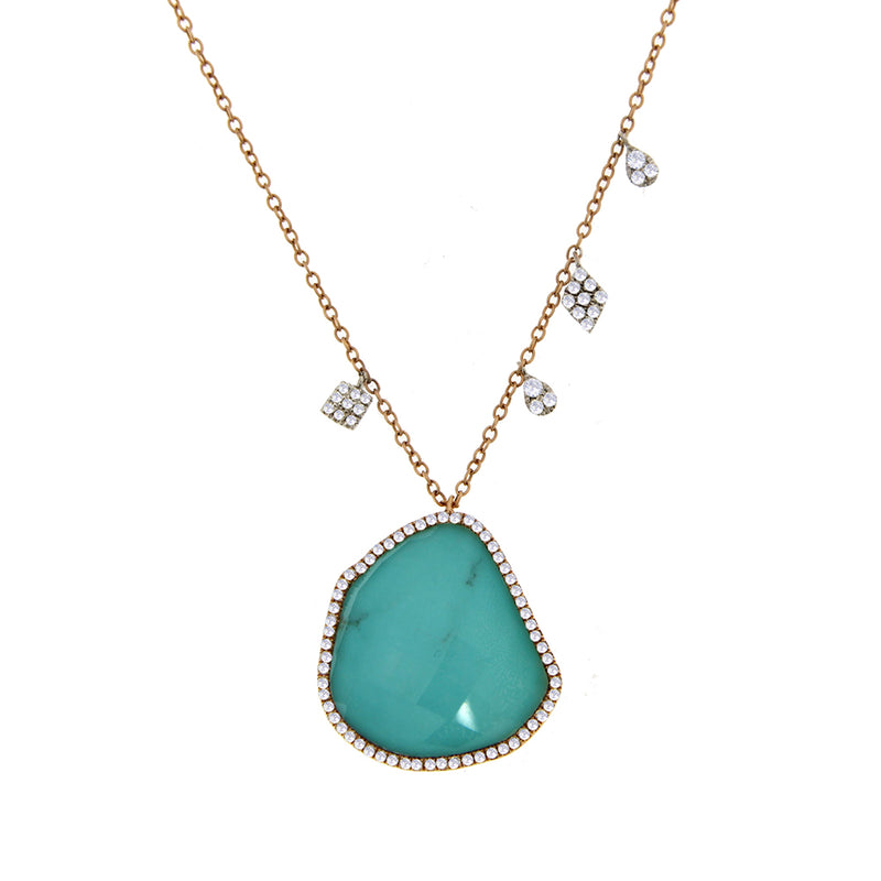 Turquoise and White Topaz Doublet Necklace