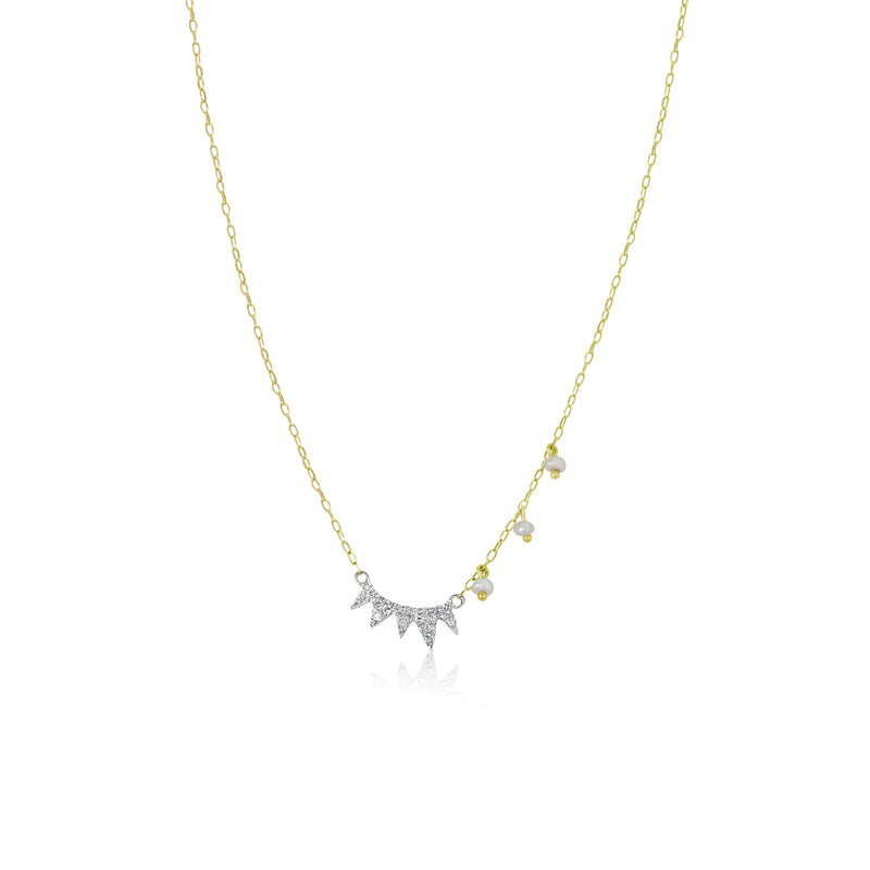 Yellow Gold Triangle and Pearl Necklace