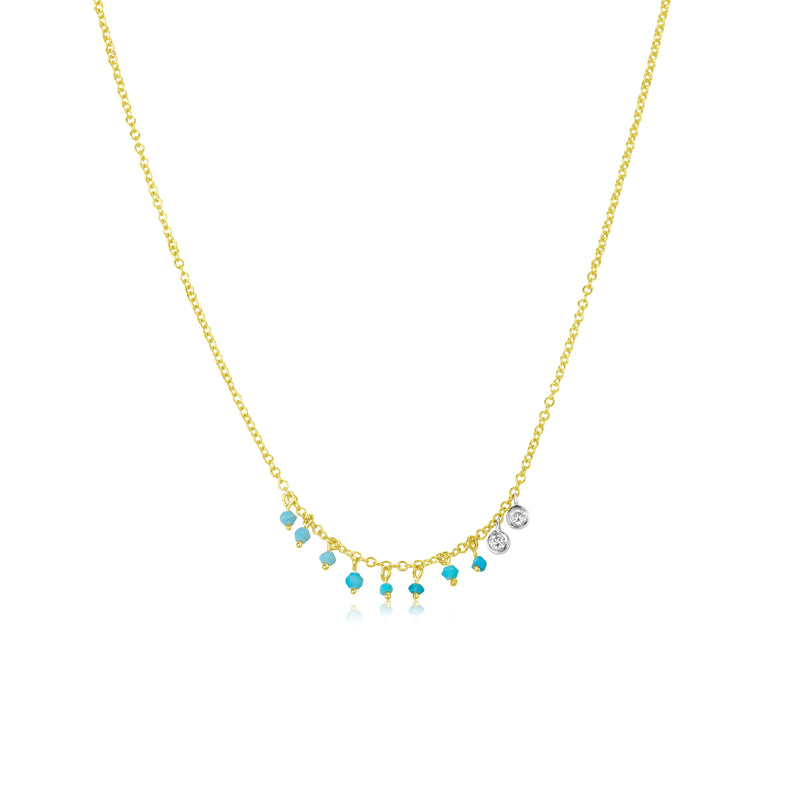 Dainty Turquoise and Bezel Necklace