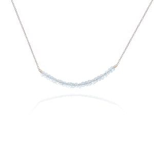 Blue Topaz White Gold Bead Necklace