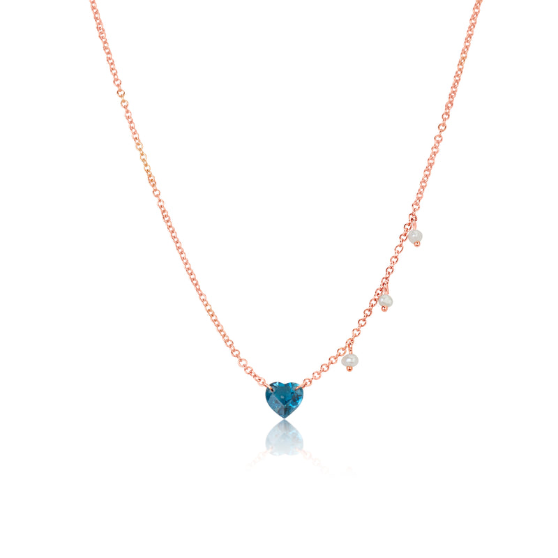 Rose Gold London Blue Topaz Heart Necklace
