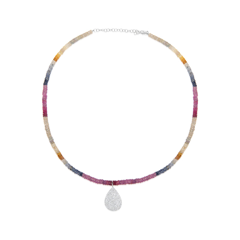 Multicolor Bead Necklace with diamond charm