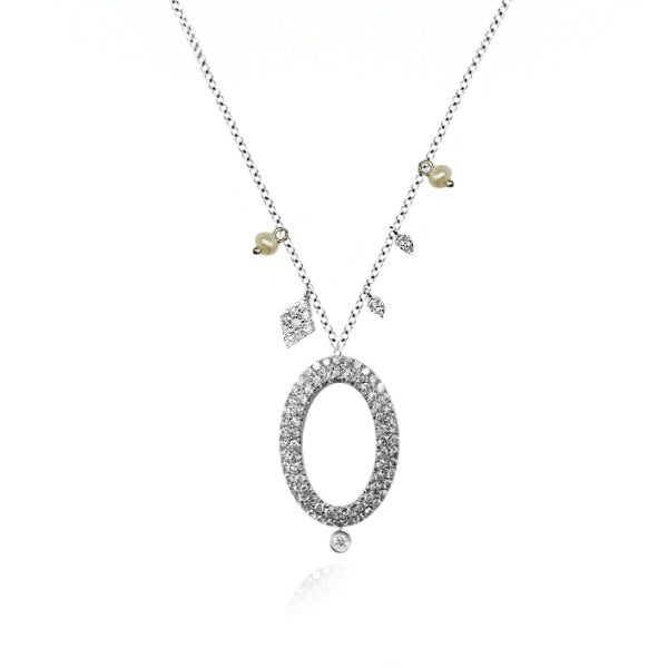 White Gold Open Oval Necklace