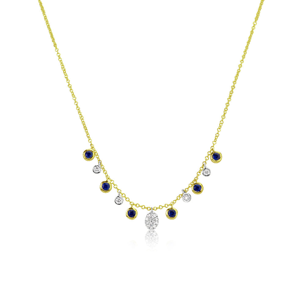Yellow Gold Blue Sapphire Charm Necklace