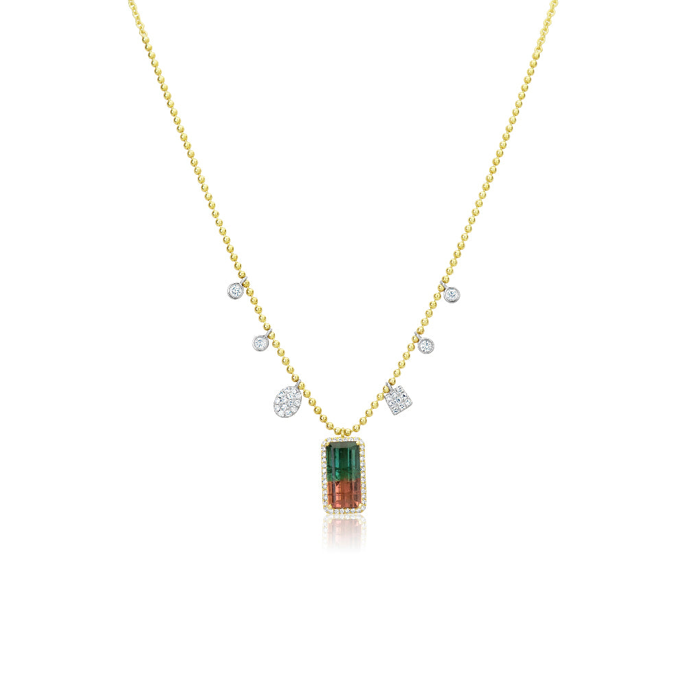 Watermelon Tourmaline Spot Chain Necklace