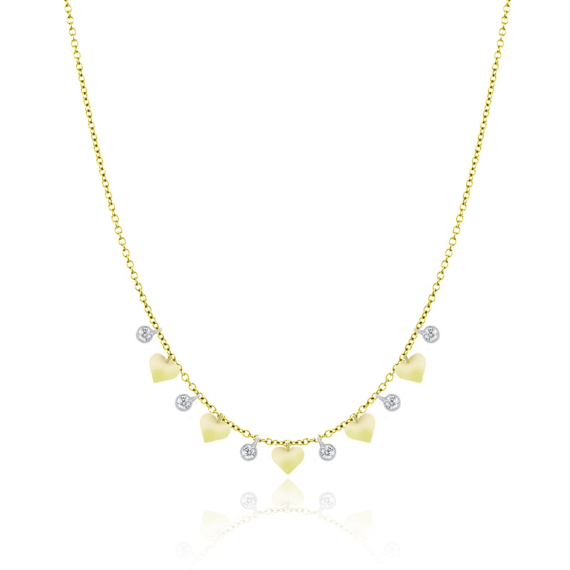 Yellow Gold Heart and Diamond Necklace