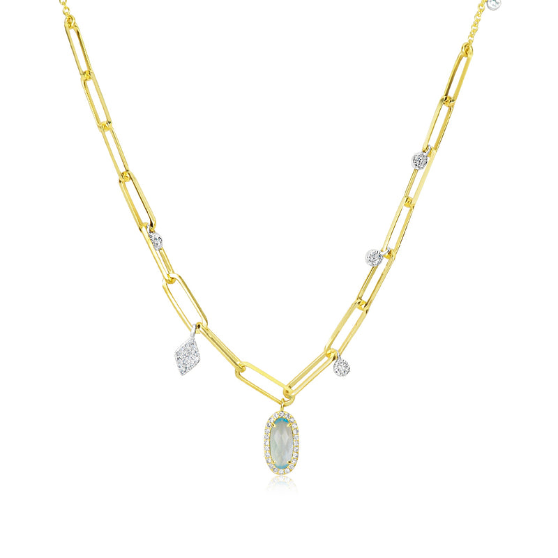 Blue Topaz Charm Chunky Chain Necklace