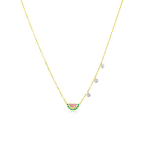 Watermelon Yellow Gold Ruby and Diamond Necklace