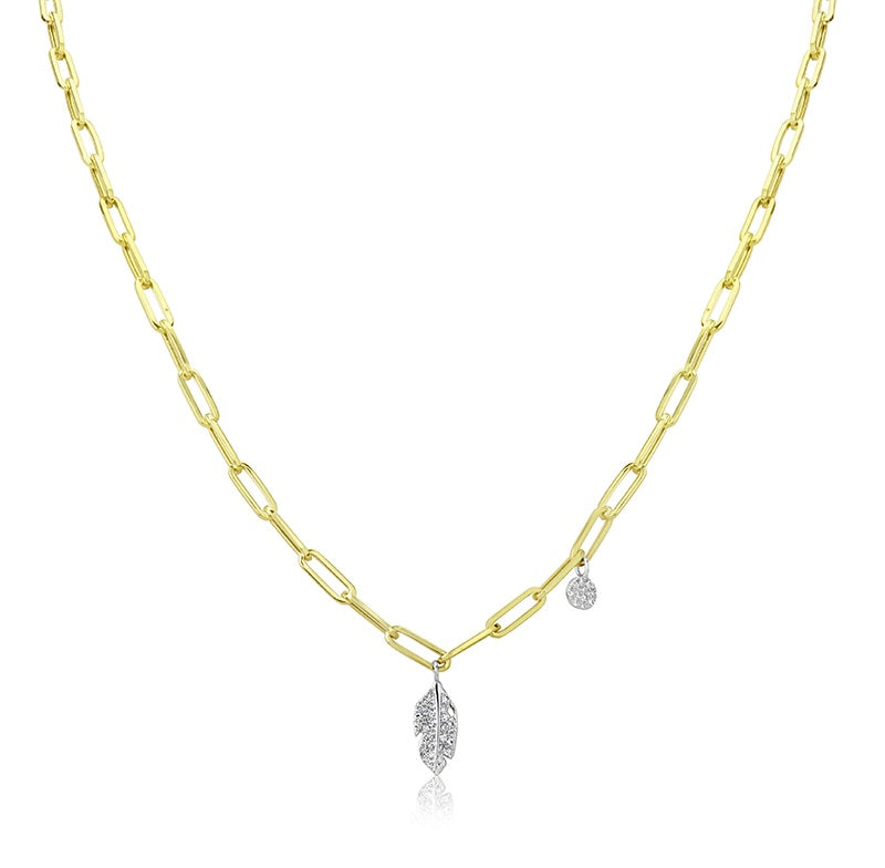 Yellow Gold Leaf Chunky Chain Necklace