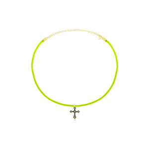 Neon Yellow Brown Diamond Antique Cross