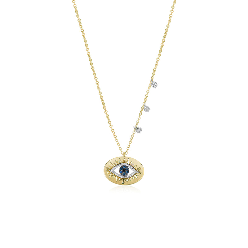 Evil Eye Charm Necklace With Diamonds and Sapphire