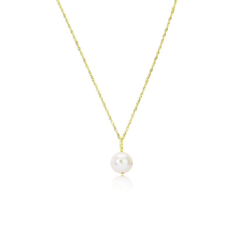 Yellow Gold Chain with Diamond Encrusted Pearl
