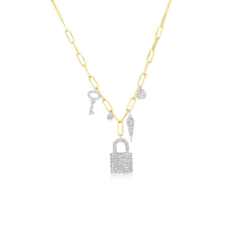 Diamond Lock Chunky Chain Necklace
