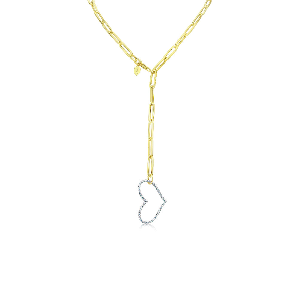 Diamond Heart Chunky Chain Lariat