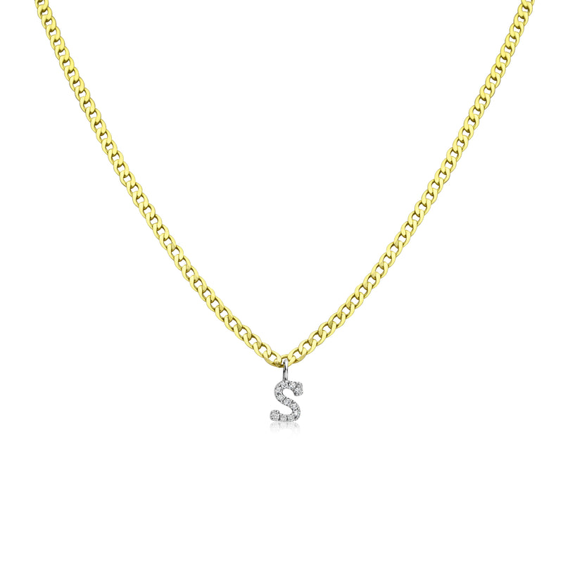 Yellow Gold Diamond Initial Cuban Chain Necklace