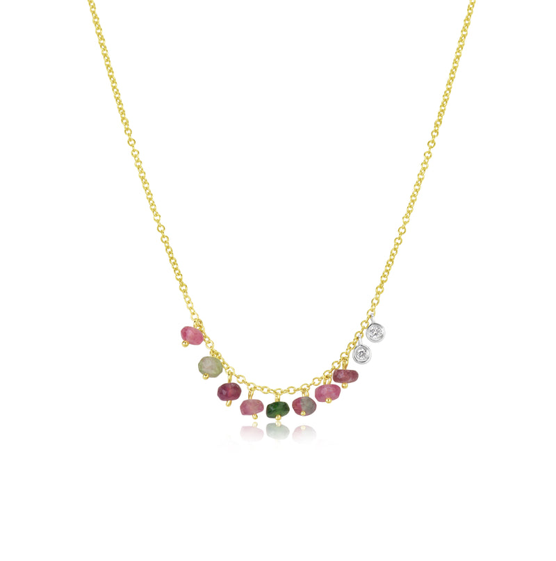 Dainty Watermelon Tourmaline and Bezel Necklace
