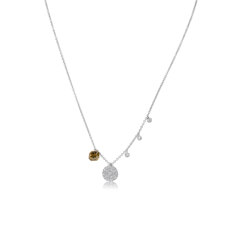 White Gold Disk Necklace