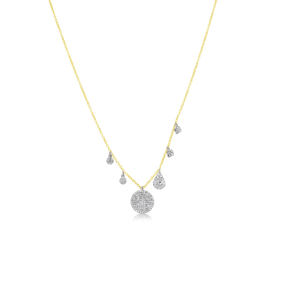 Diamond Charm and Disk Necklace