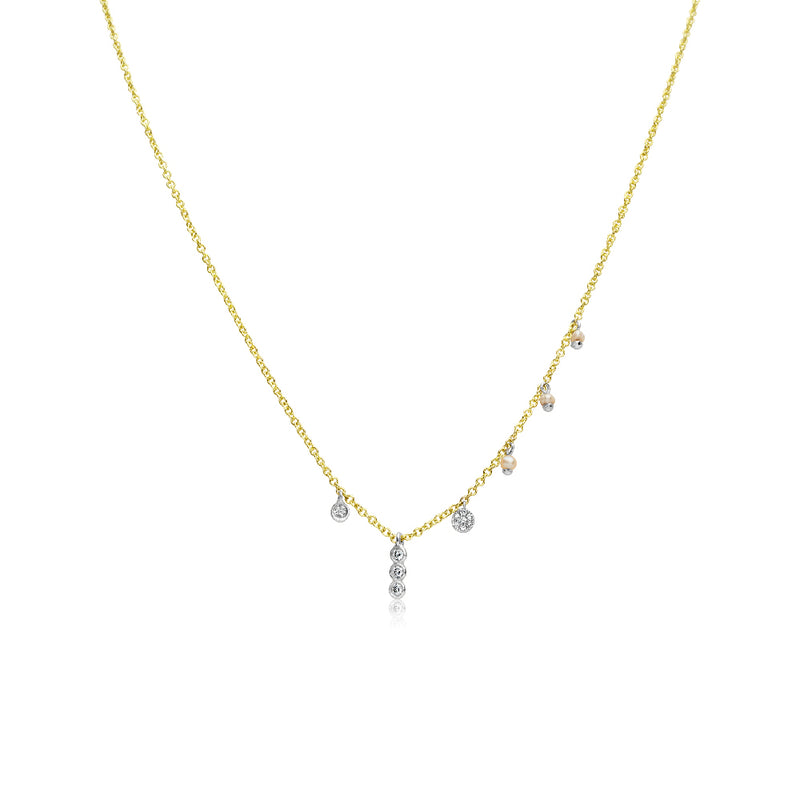 Diamond and Pearl Dainty Necklace