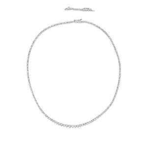 Three prong diamond tennis necklace