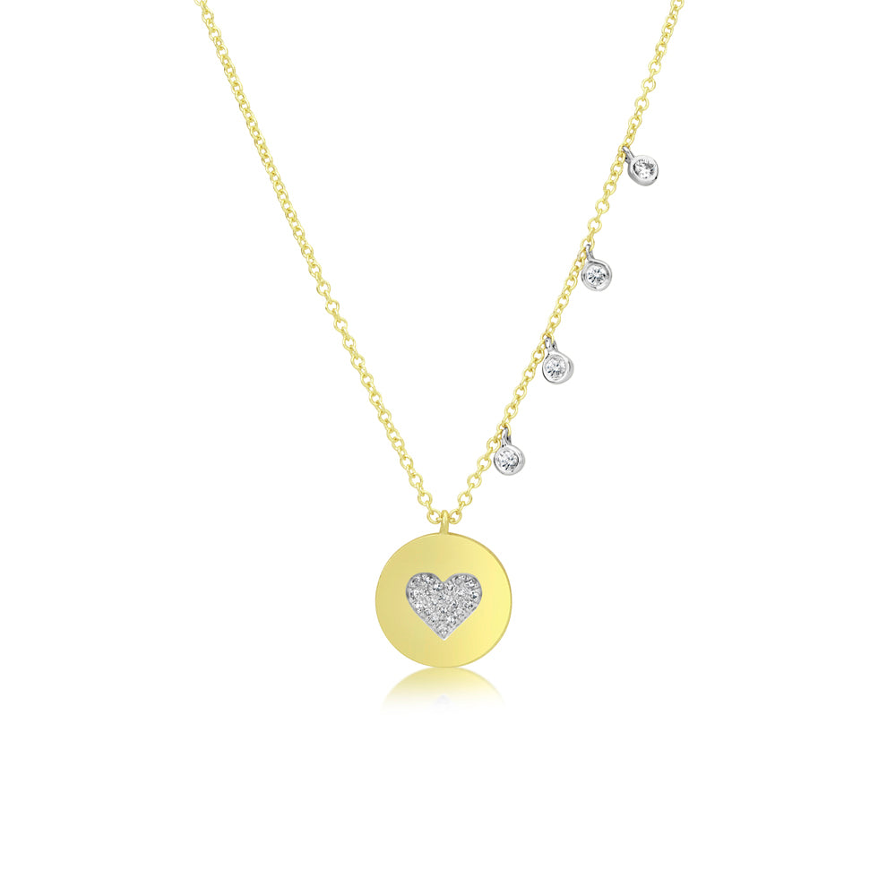 Diamond Heart Disk Coin Necklace