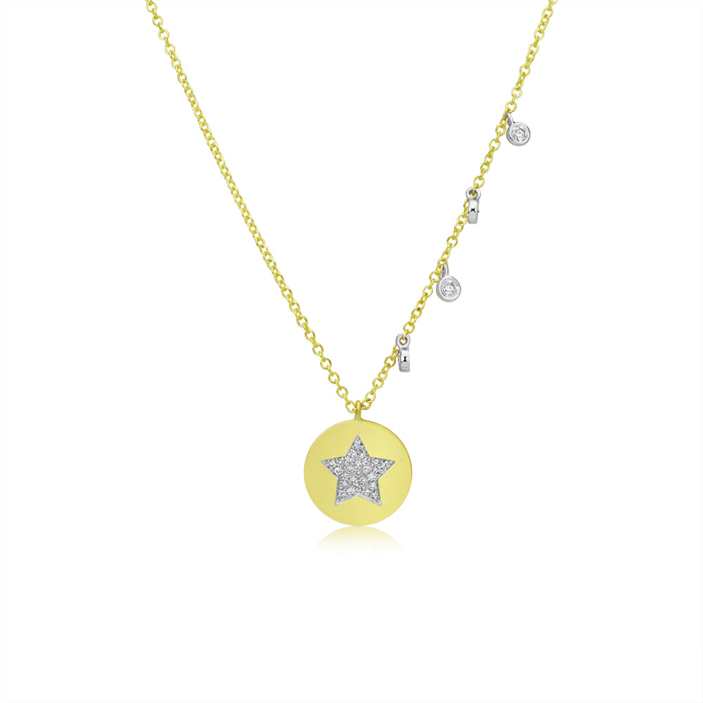 Diamond Star Disk Coin Necklace