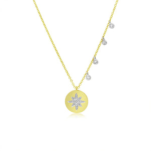 Diamond Starburst Disk Coin Necklace