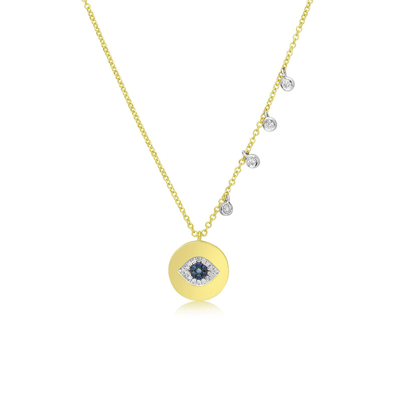 Diamond and Blue Sapphire Evil Eye Coin Necklace