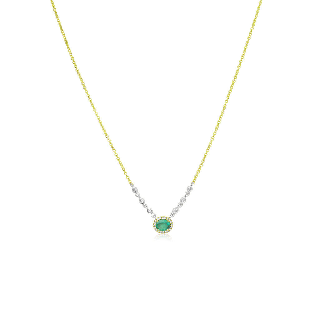 Dainty Emerald Halo Necklace