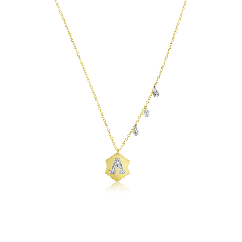 Yellow Gold Initial Charm Necklace
