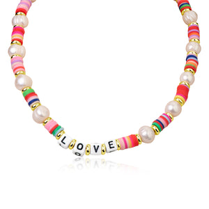 Multicolor Bead and Pearl and LOVE Choker