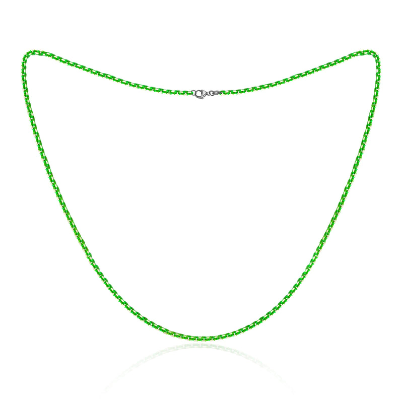 Neon Green Sterling Silver Diamond Cut Layering Necklace, 18 inches