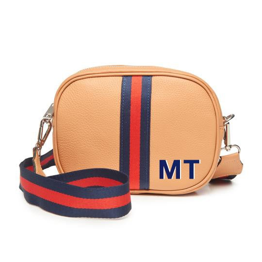 Monogramed Sorbet Orange Crossbody Camera Bag