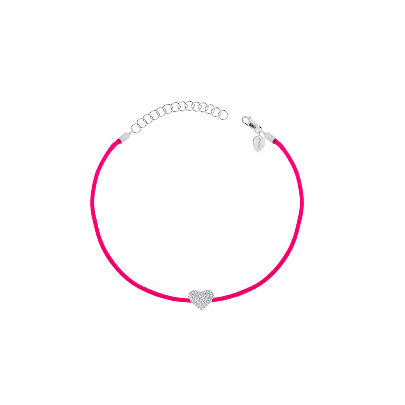 Diamond Heart Pink String Bracelet