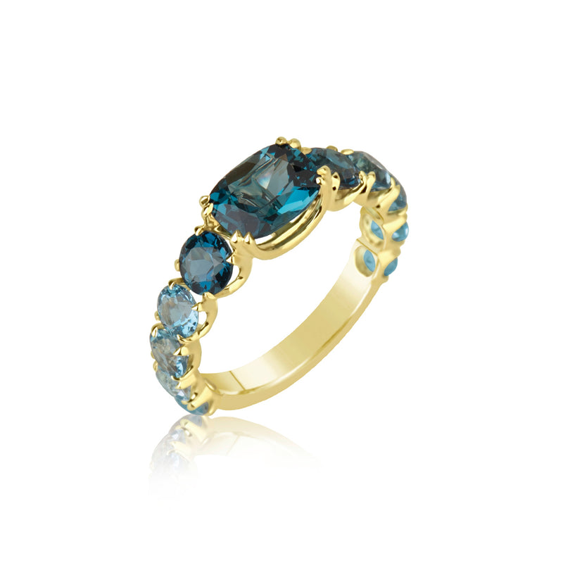 Yellow Gold London Blue Topaz Chunky Ring