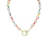 Rainbow Bead and Pearl Necklace with Crystal Studded Clasp