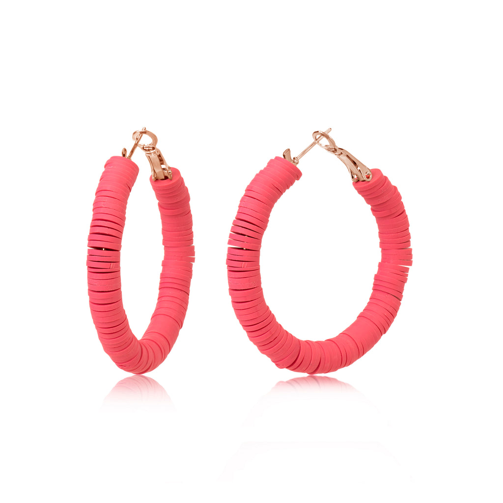 Bright Pink Resin Bead Hoop Earrings