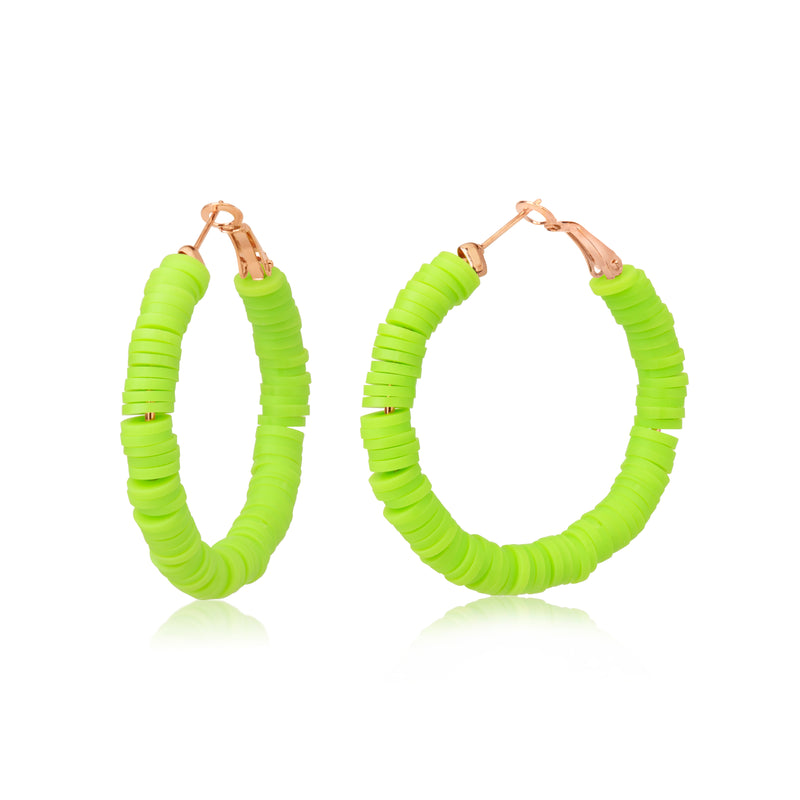 Neon Green Resin Bead Hoop Earrings