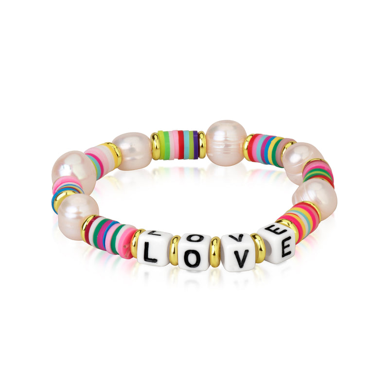 Multicolor Bead and Pearl and LOVE Stretchy Bracelet