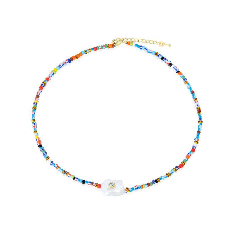 Mini Multicolor beads and Pearl Center Necklace