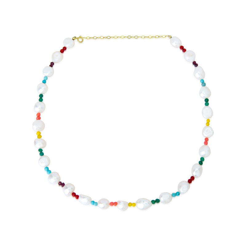Rainbow Bead and Pearl Necklace