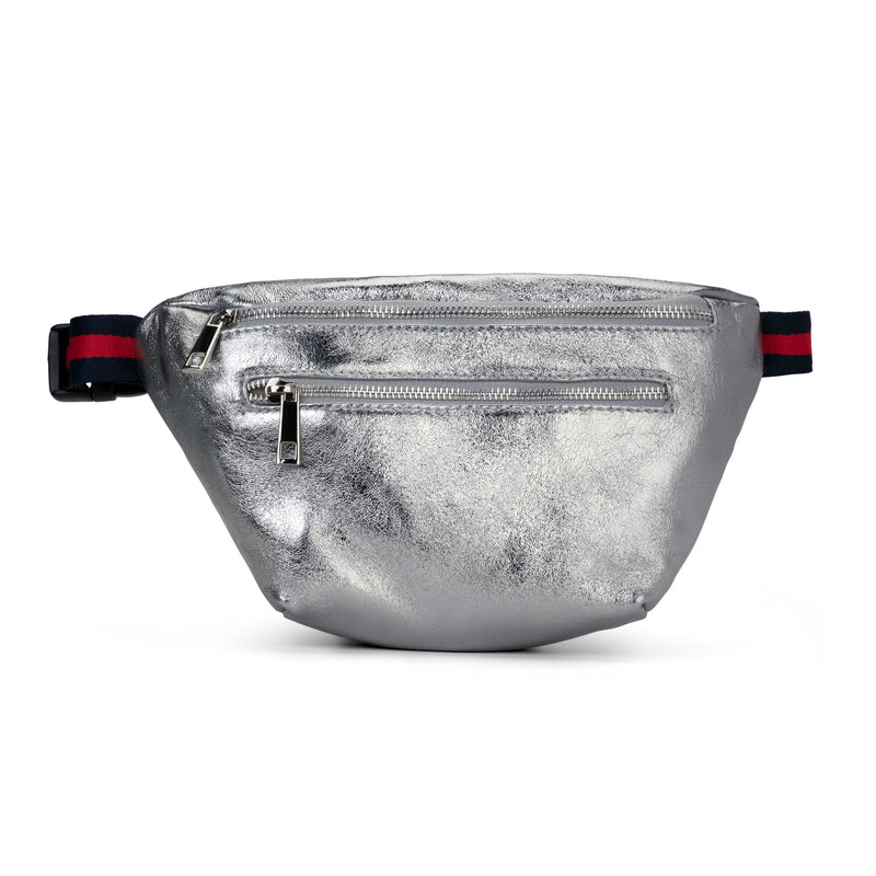 Silver Mettalic Double Zipper Belt Bag Fanny Pack