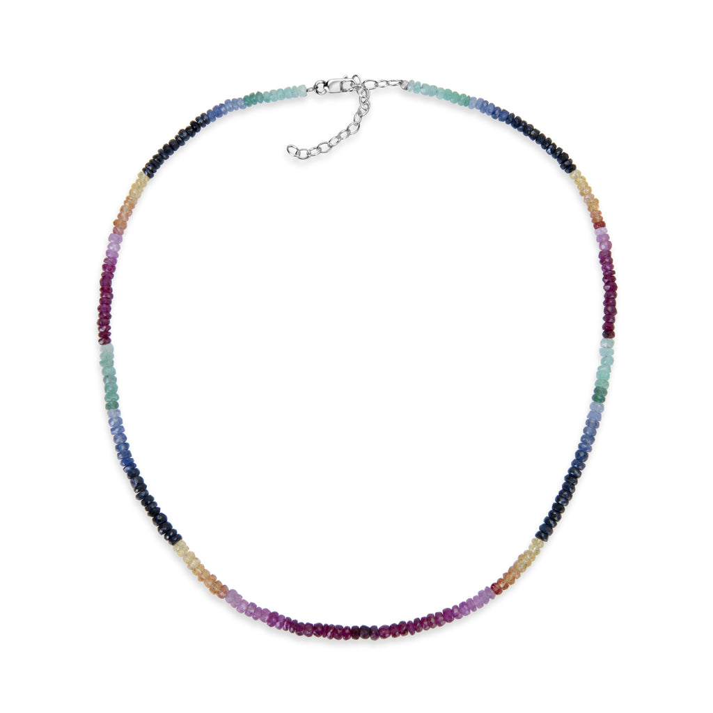 Multicolor Rainbow Saphire Beaded Necklace