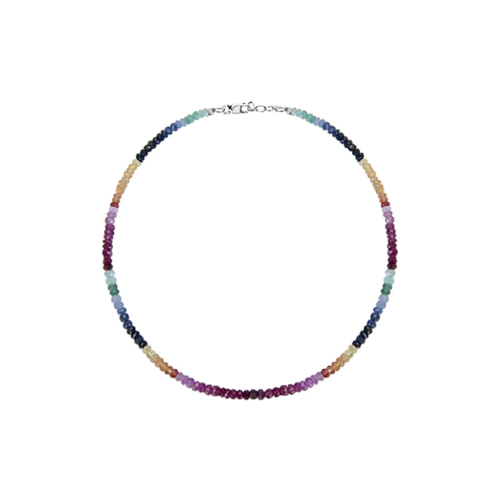 Multicolor Rainbow Saphire Beaded Bracelet