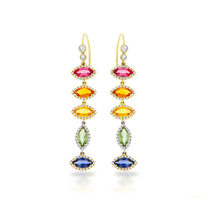 14k Yellow Gold Rainbow Sapphire Earrings