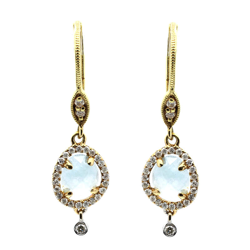 Yellow Gold and Diamond Milky Aqua  Earrings