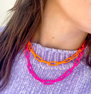 Neon Pink Link Chain Necklace WEB EXCLUSIVE