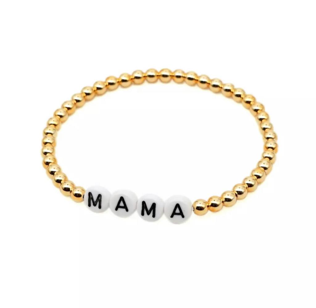 MAMA message 4mm Yellow Gold Fill Ball Bracelet