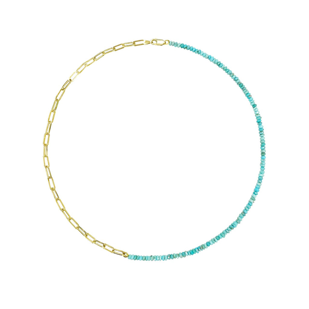 Half and Half Turquoise Bead and Gold Plated Paperclip Chain Necklace- ALL NEW BOUTIQUE EXCLUSIVE